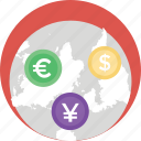 foreign exchange, forex trading, global currency, money exchange, money market icon