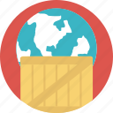 global logistics, international delivery, overseas package transfer, supply chain, worldwide delivery icon