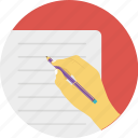 document, paperwork, pen and paper, text file, writing on paper icon