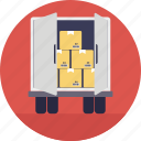 cargo loading, delivery truck, freight, freight transportation, package shipment icon