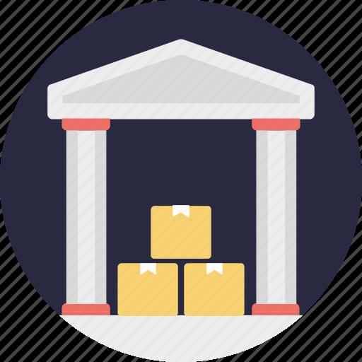 godown, shipment storehouse, storage unit, warehouse storage icon