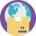 international delivery, logistic service, overseas package transfer, supply chain, worldwide delivery icon