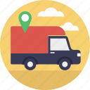 cargo truck, delivery address, delivery location, nationwide shipping, shipment destination icon