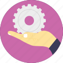 cog in hand, installation and support, mechanism service, technical services, technical support icon
