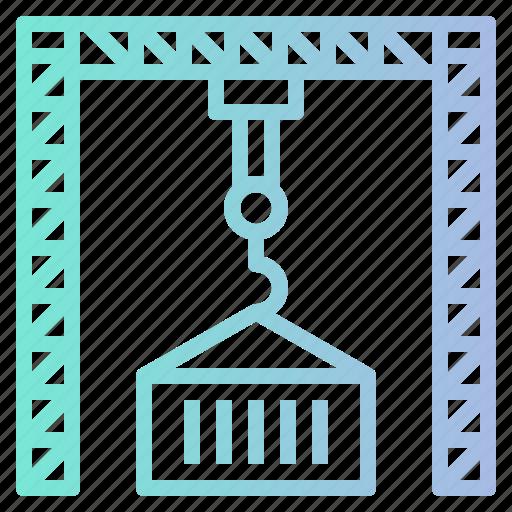 container, crane, industry, logistics, port icon