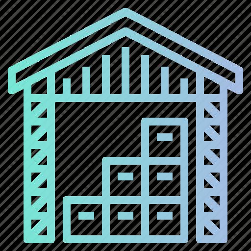 factory, shipping, stocks, storage, warehouse icon