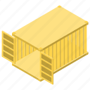 cargo container, container, delivery, freight, logistic, open container icon