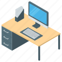 computer desk, office, office desk, working, workplace icon
