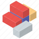 cargo container, containers, delivery, freight, logistic icon