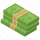 banknote, currency note, money stacks, paper money, paper note icon