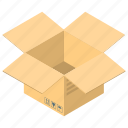 logistics, open box, open carton, package, unpacking, unwrapping icon