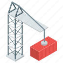 container lifter, crane lifter, crane pulley, freight container, weight lifter icon