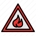 fire, flame, flammable, sign, warning icon