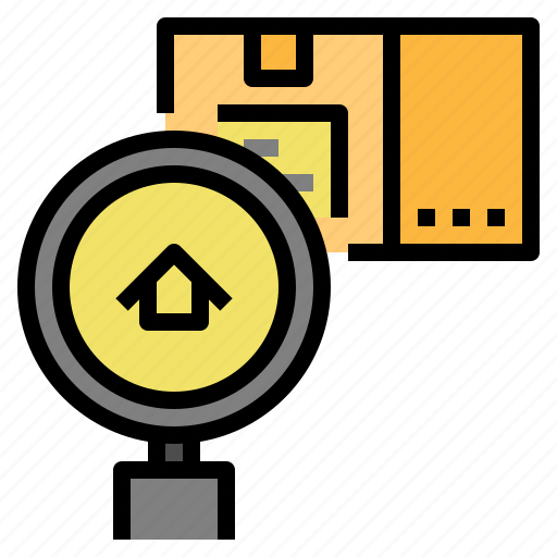 delivery, find, location, package, tracking icon