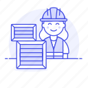 package, female, service, half, logistic, management, warehouse, worker, inventory