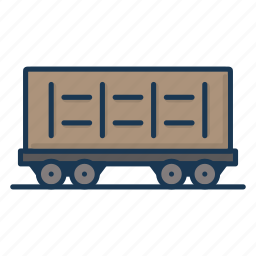 coal cart, railway, railway carriage icon
