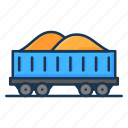 coal cart, construction cart, mine chariot, railway carriage, sand icon