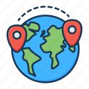 delivery, location, logistics, marker, pin, planet, world icon