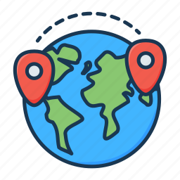 delivery, location, logistics, marker, pin, planet, world icon