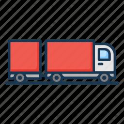 cargo, lorry, trailer, transportation, truck icon