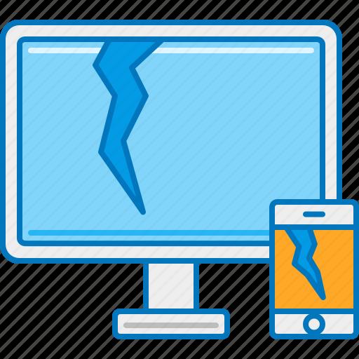 breakage, broken, crack, device, monitor, smartphone, spoil icon