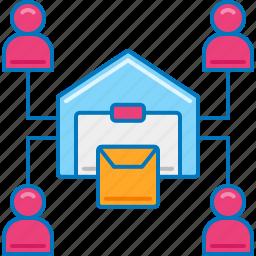consumer, direct, logistics, management, system, warehouse icon
