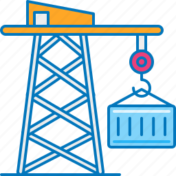 cargo, container, crane, lift, loading, shipment, shipping icon