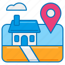 arrival, arrived destination, destination, home, home sweet home, location service icon