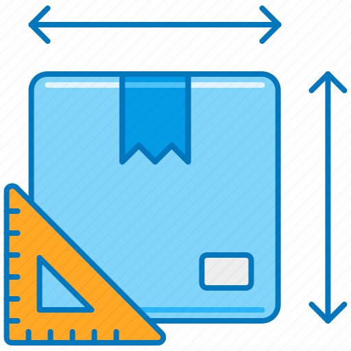 box measurements, box sizing, dimension calculator, length width height, order size, package size, parcel size icon