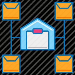distribution center, distribution service, logistic company, logistics, shipping center, warehouse, warehouse management icon