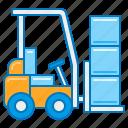 electric forklift, forklift, forklift operator, forklift truck, lifted truck, material handling, pallet truck icon