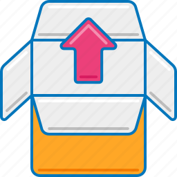 outbox, outgoing, package, packaging, parcel, unload, unpack icon