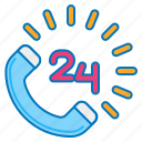 24 hours, 24 hours call, 24 hours service, 24 hours support, 24 hrs, around the clock icon