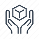 box, delivery, hands, logistics, package icon