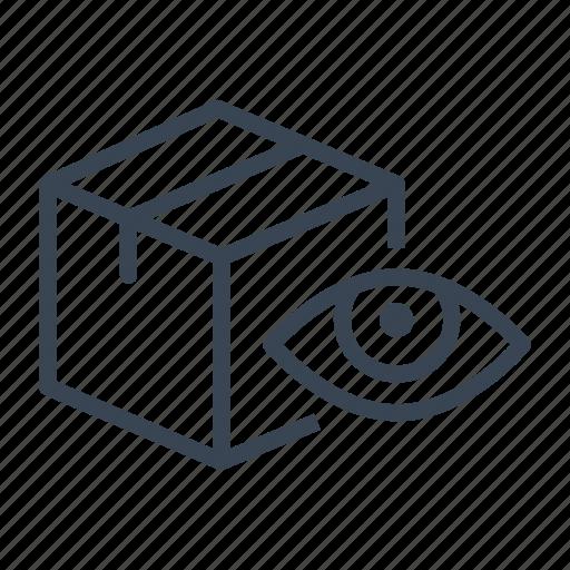 box, eye, logistics, package, shipping icon