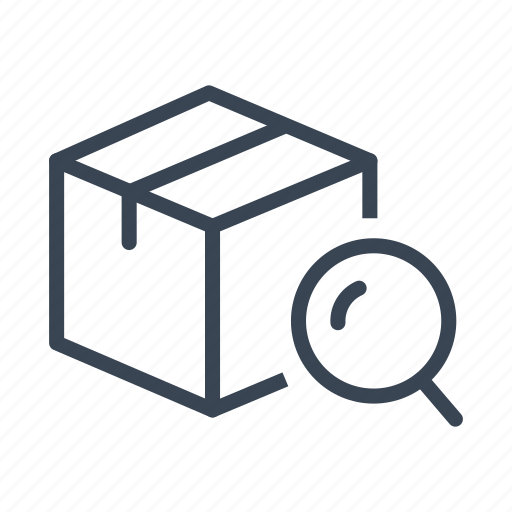 box, logistics, package, search, shipping icon