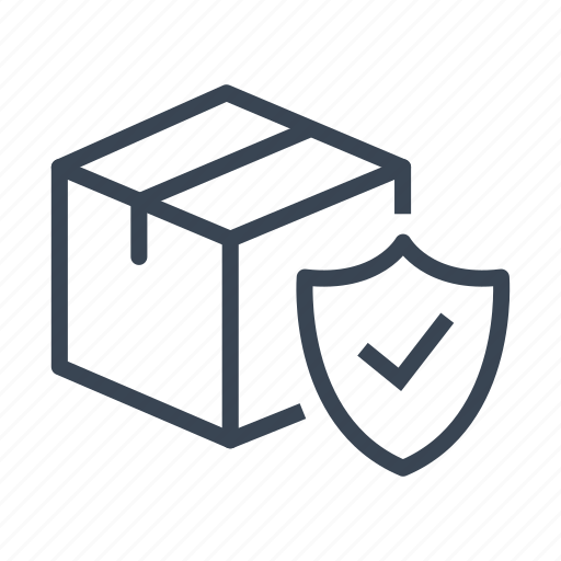 box, logistics, package, protection, security, shield, shipping icon