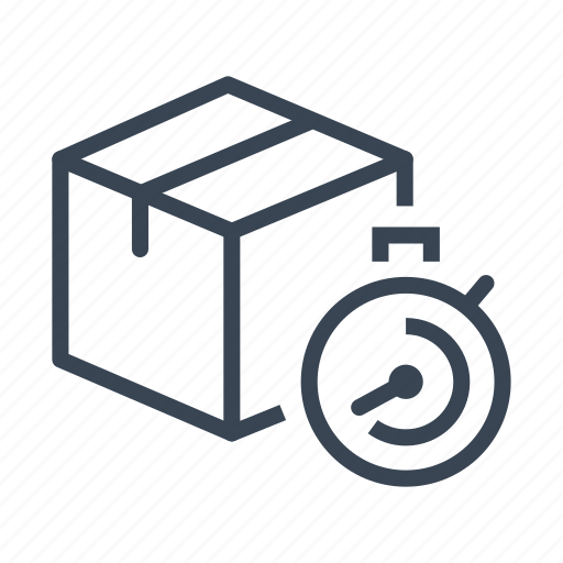 box, delivery, fast, logistics, package, shipping, stopwatch icon