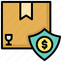 insurance, parcel, post, register, fragile, prevent, assure icon