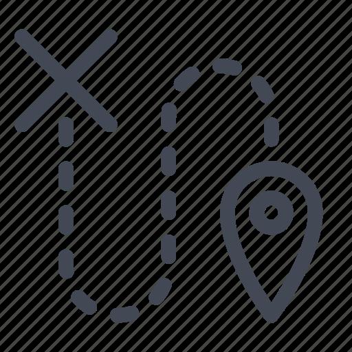 destination, detour, position, route, wrong icon