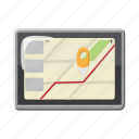 cartoon, gps, location, map, phone, road, travel icon