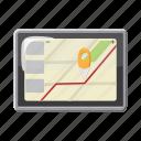 cartoon, gps, location, map, phone, road, travel icon
