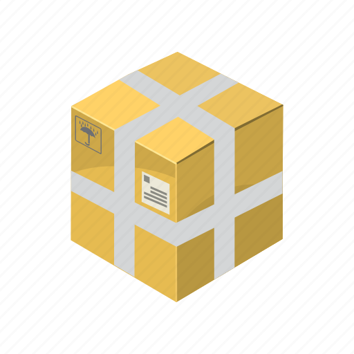box, cargo, cartoon, package, packaging, transport, transportation icon