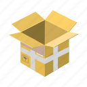 box, cardboard, carton, cartoon, container, empty, package icon