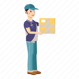 box, cardboard, cartoon, courier, delivery, package, service icon