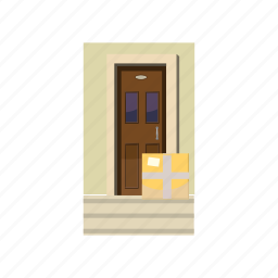 box, cartoon, courier, delivery, door, package, service icon