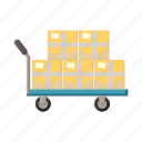 cargo, cart, cartoon, dolly, freight, package, post icon