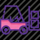bendi truck, fork truck, forklift truck, industrial transport, loading forklift icon