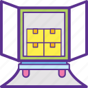 delivery service, delivery van, delivery van load, load boxes, loading volume icon
