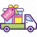 celebrations, gift delivery, gift delivery van, gift distribution, shipping gifts icon
